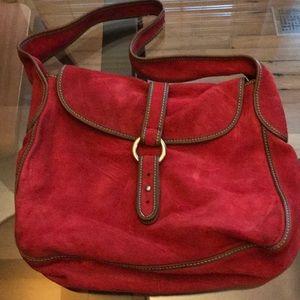 J Crew red suede handbag